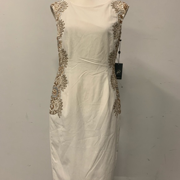 239ec92c611 Adrianna Papell Off White   Gold Embellished Dress